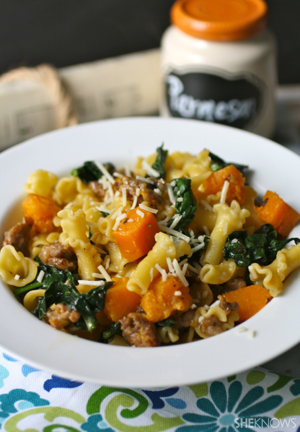 Pasta with butternut squash, sausage & kale