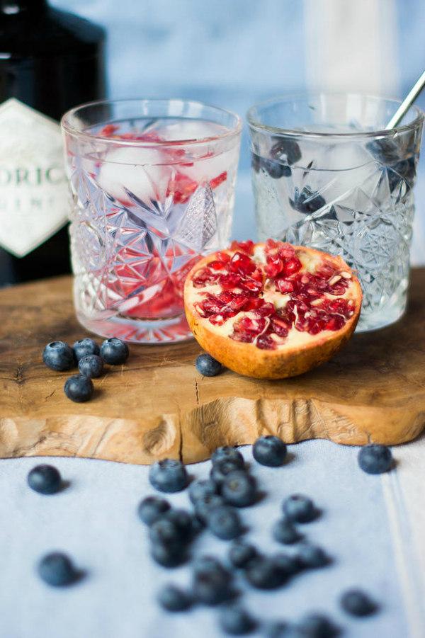 Pomegranate and blueberry gin and tonics