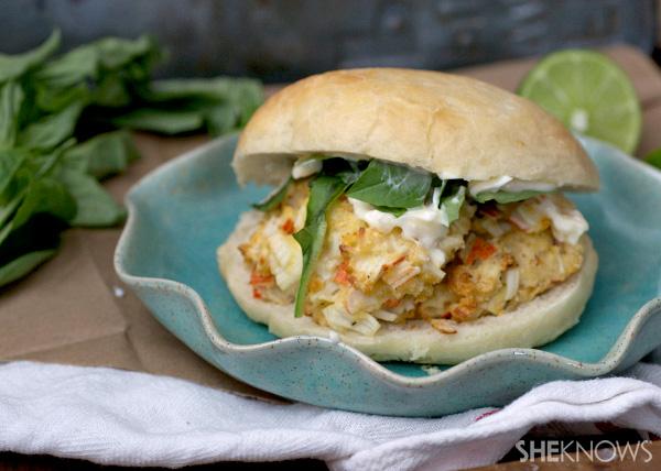 Jumbo crab & basil burgers