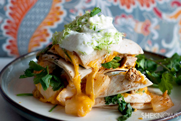 Spicy pineapple jerk chicken quesadillas recipe