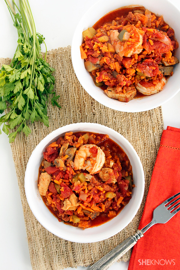 Spicy Chorizo Jambalaya with Sweet Potato Rice