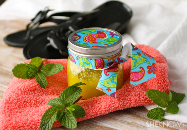 DIY Minty moisturizing foot scrub
