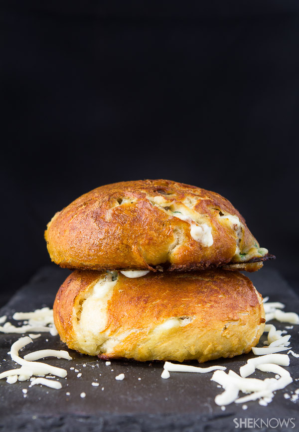 Sausage and cheese stuffed pretzel puffs