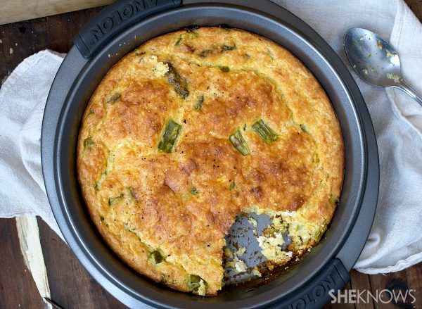 Asparagus and goat cheese spoonbread