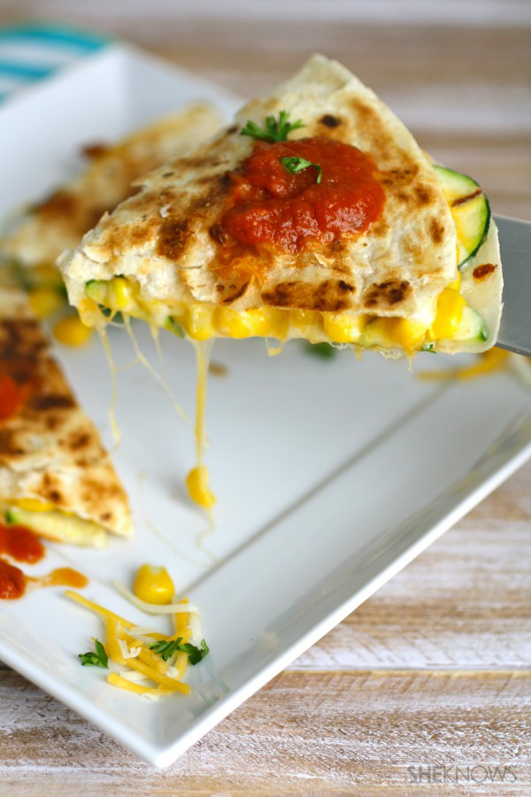 Zucchini & corn quesadillas with spicy homemade salsa
