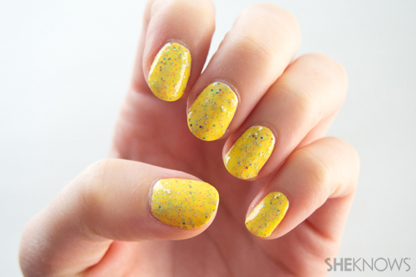 Speckled egg custom polish with glitter | SheKnows.com