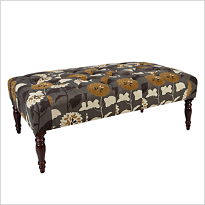 Angelo Margo Caramel Brown and Cream Meadow Flowers Tufted Cocktail Ottoman | Sheknows.com