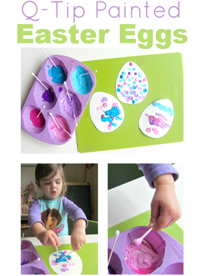 Cotton swab painted eggs | Sheknows.com {focus_keyword} 12 Kid-friendly Easter egg crafts cotton swab easter eggs