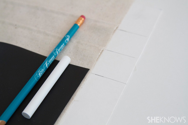 DIY Countertop message center Step 6: Mark pencil pocket location optional