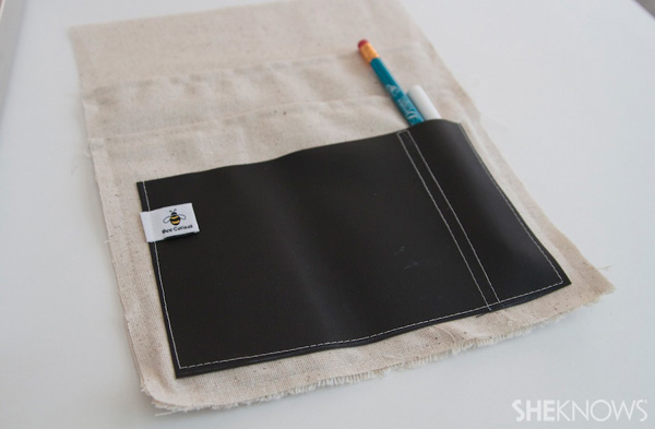 DIY Countertop message center Step 7: Sew chalkboard pocket on
