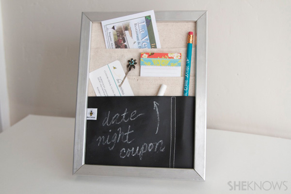 DIY Countertop message center Step 12: insert frame back