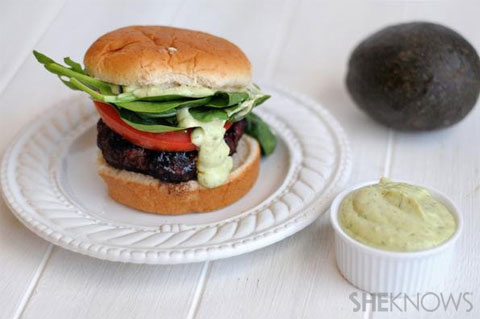 Chili-coffee crusted burgers with avocado ranch