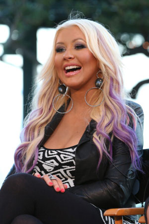 Christina Aguilera purple streaks