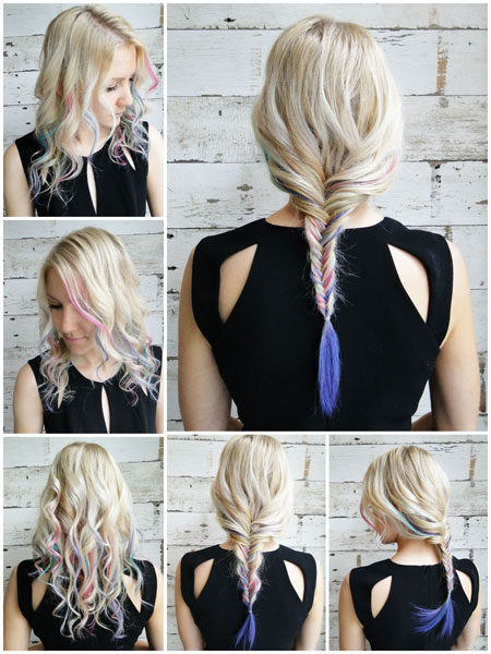 Hair braid with color chalk tutorial