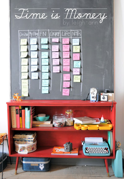 Chalkboard sticky note wall