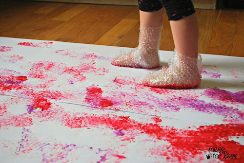 Bubble wrap stomp art