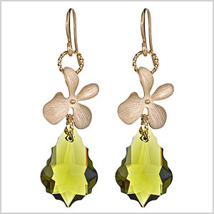 Olive Green Crystal Orchid-Drop Jessica Earrings