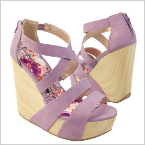 Qupid Wooden Wedge Platform Strappy Sandal