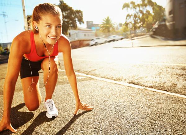 Woman starting morning run