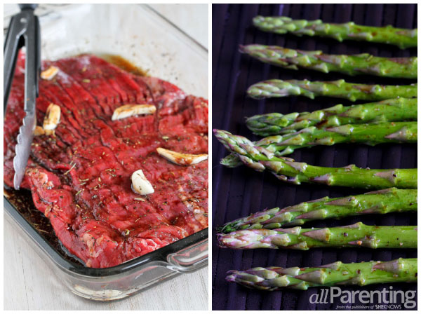 allParenting Grilled flank steak and asparagus salad prep collage