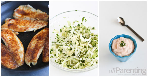 allParenting Tilapia soft tacos with honey-lime slaw prep collage