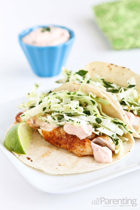 allParenting Tilapia soft tacos with honey-lime slaw