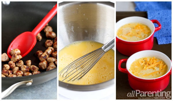 allParenting Make-ahead sausage & cheddar baked eggs prep collage