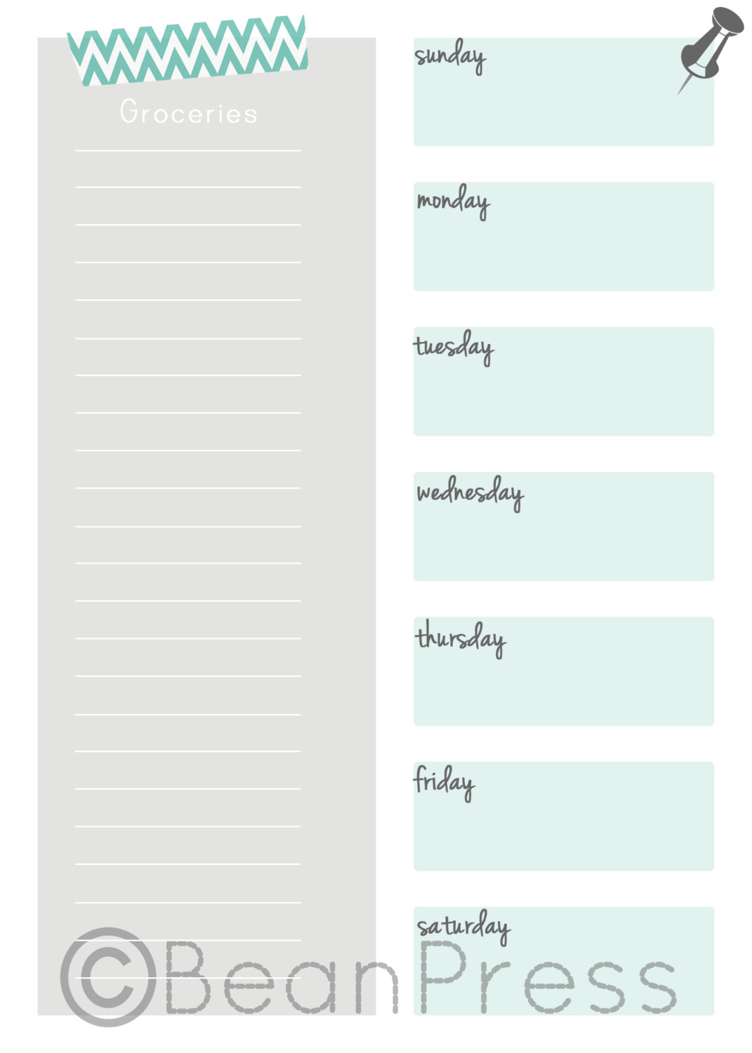 BeanPress Grocery List and Meal Planner
