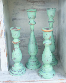 Etsy Set of 4 SHABBY CHIC Mint Green Chippy Candle Holders