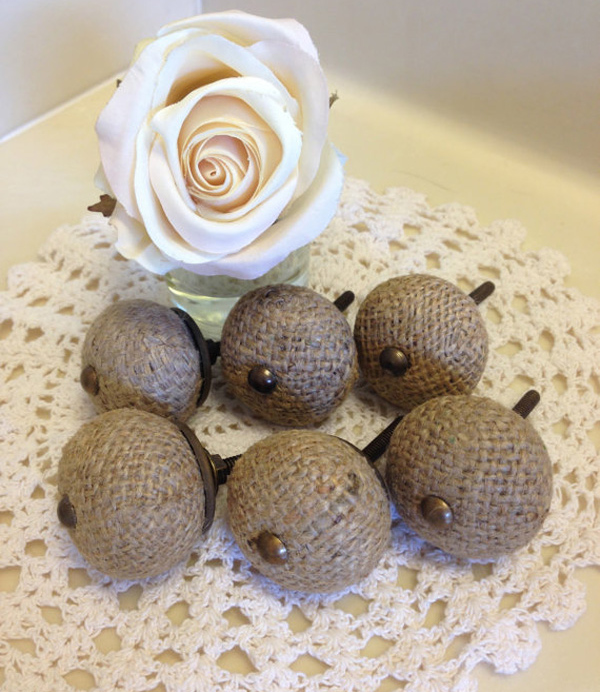 Etsy Set of 6 Shabby Chic Burlap Drawer Knob