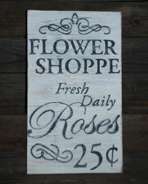 Etsy Flower Shoppe, Rustic Wood Sign