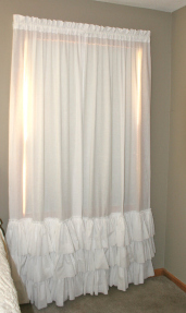 Etsy Shabby Chic Farmhouse 3 Ruffle KAMI Curtain Panel In 100% Cotton Muslin