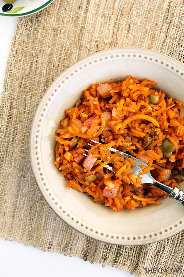 Spanish butternut squash rice with ham and olives