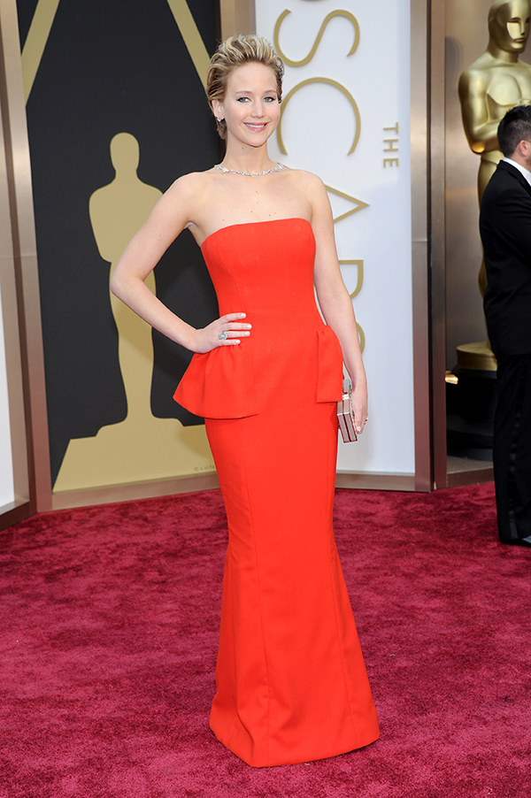 Jennifer Lawrence in Dior at 2014 Oscars