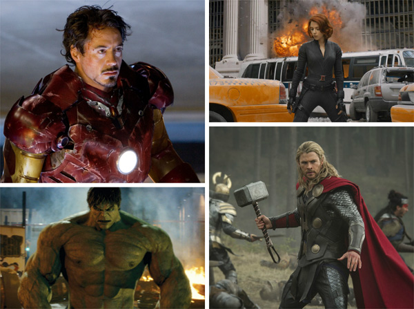 Scenes from Marvel films
