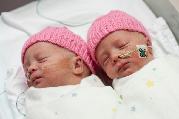 Premature twin babies