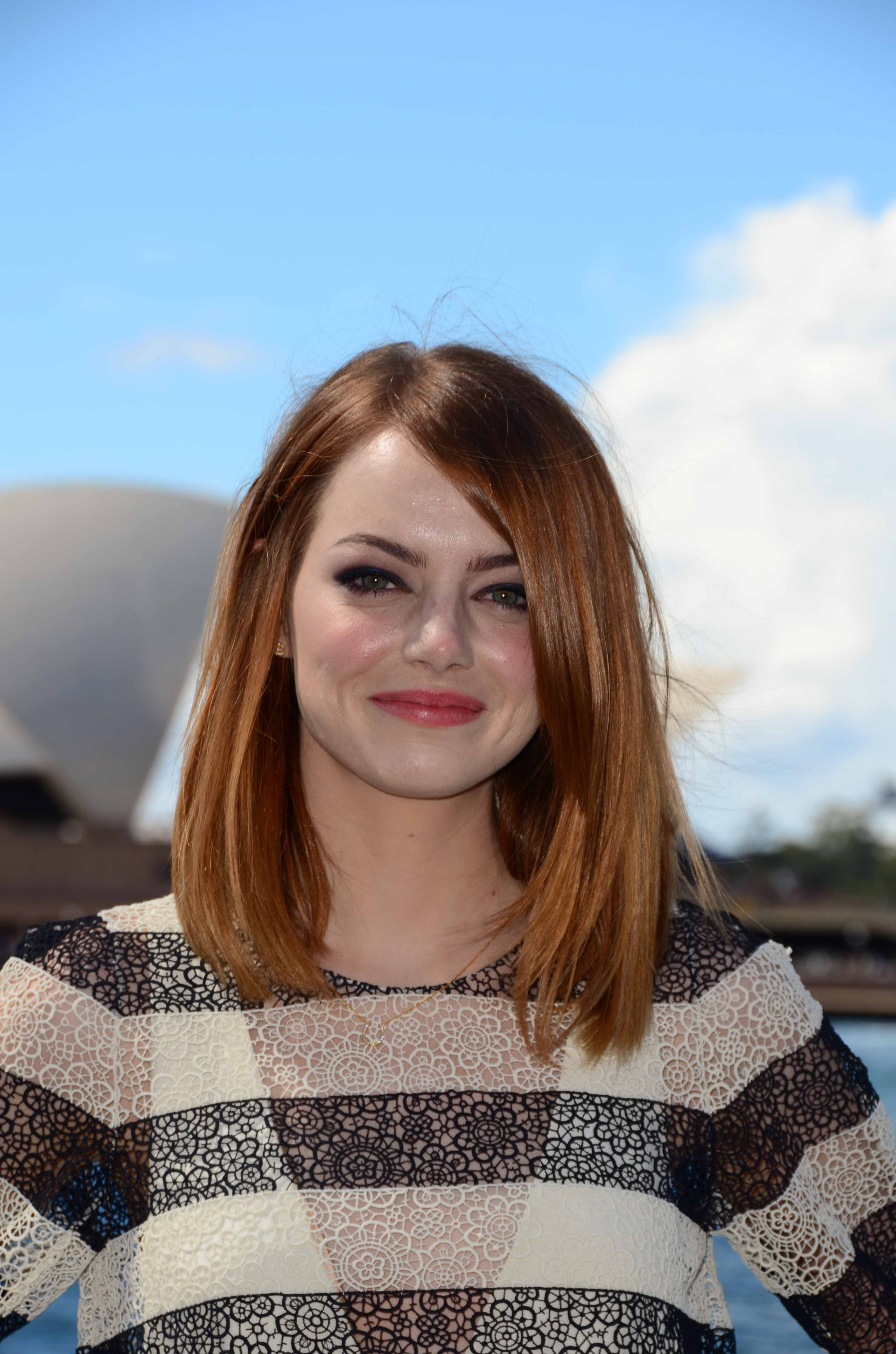 Emma Stone with a bouncy blowout