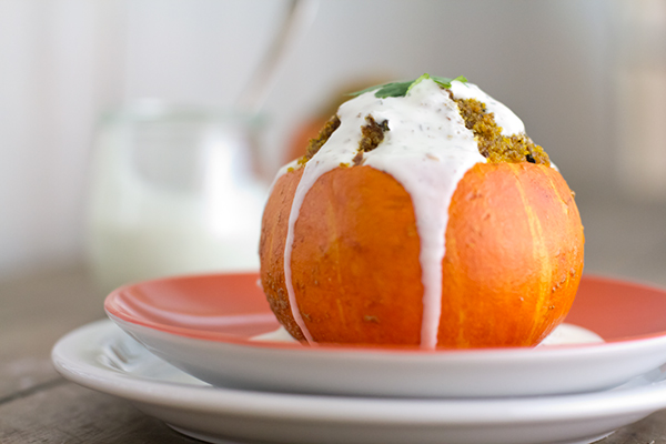 Lamb meatloaf baked in a mini pumpkin