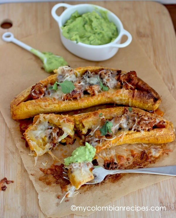 Plantains stuffed with chorizo and cheese