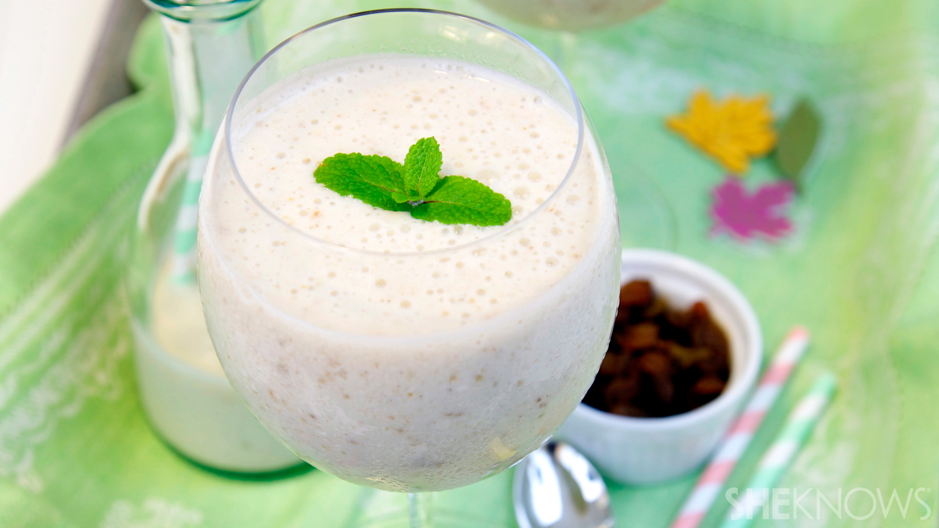 Boozy banana rum raisin smoothie recipe