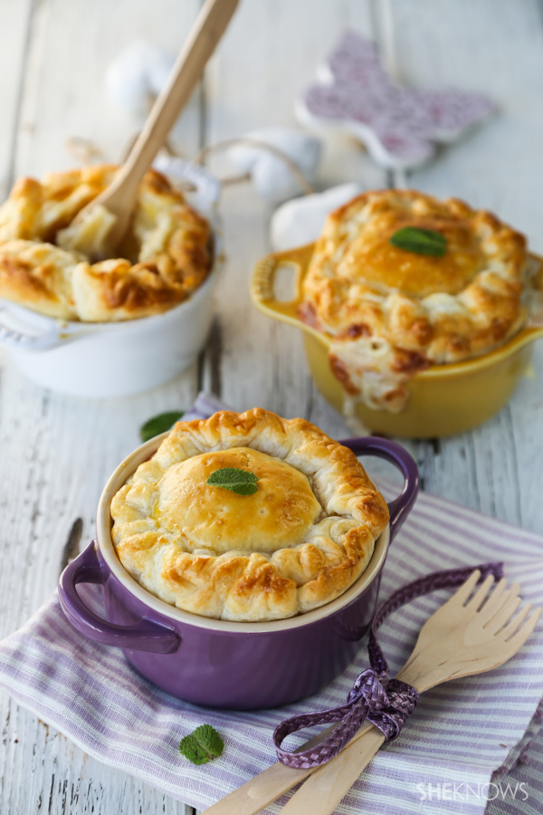 Mini mac and cheese pies with Parmesan and pancetta recipe