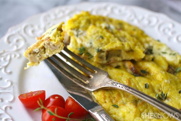 Wild mushroom, thyme & Brie omelet