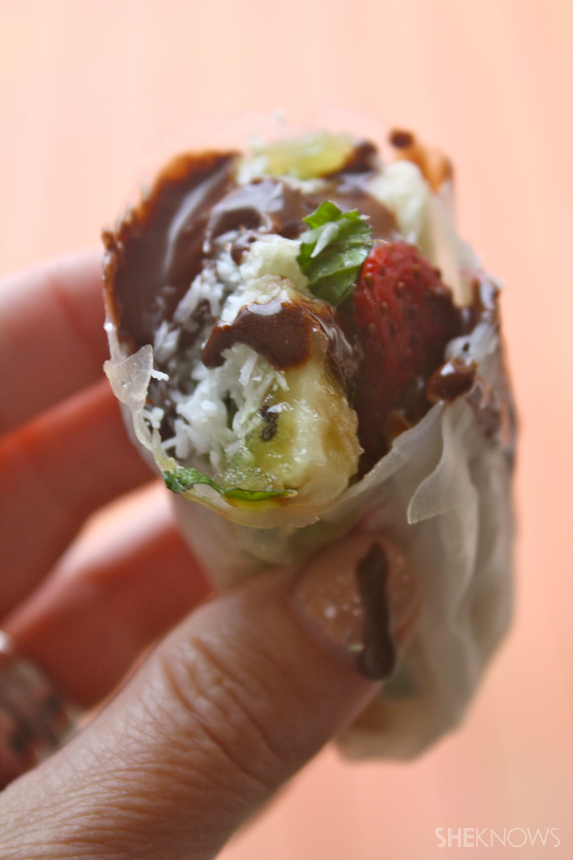 Vegan strawberry, banana & almond spring rolls with chocolate sauce
