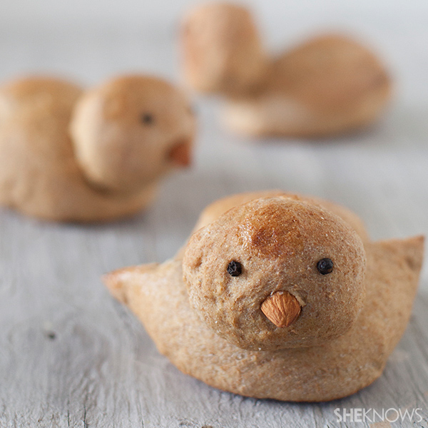 Bird-shaped whole wheat rolls