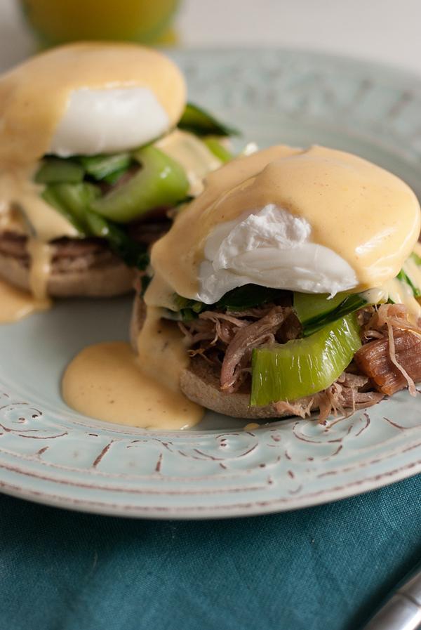 Kalua pork eggs Benedict with sriracha Hollandaise sauce
