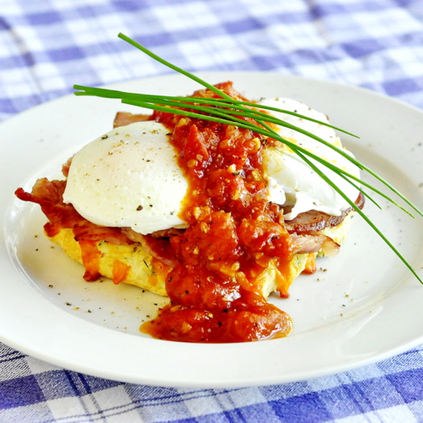 Cheddar chive biscuit & tomato eggs Benedict