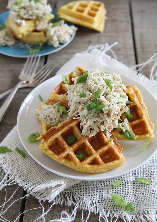 Southern comfort cornbread waffles with shredded chicken apple slaw