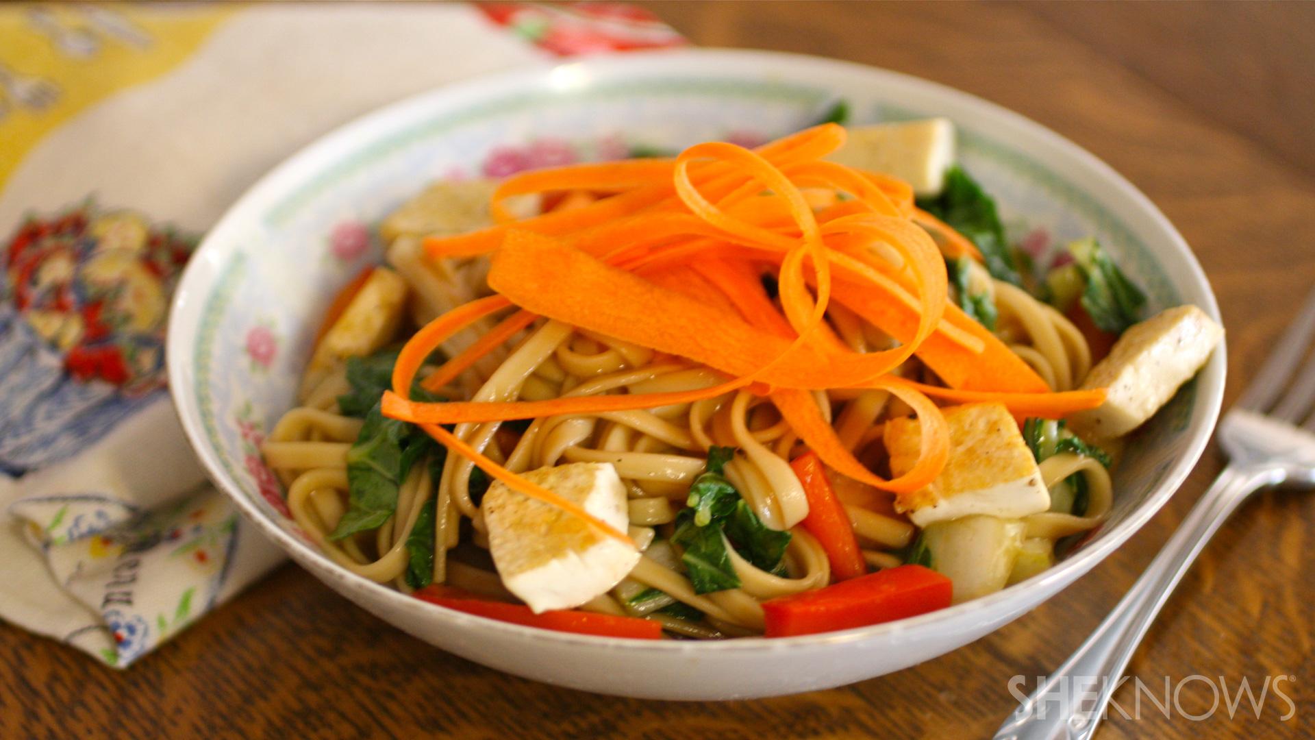 Tofu and bok choy lo mein