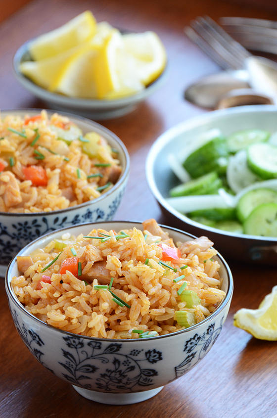 Thai-inspired fried rice with chicken