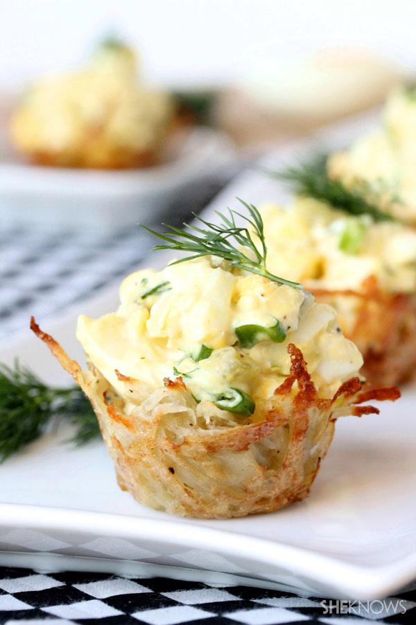 Dilly egg salad in crispy mini cups recipe